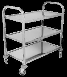 成都不锈钢餐车加厚两层小推车收餐车收碗车三层餐厅送餐车上菜车